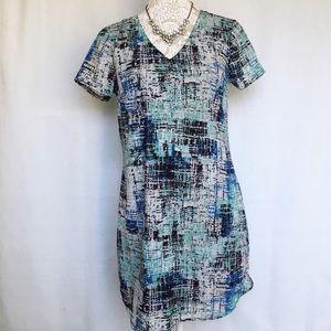 Japna // Blue, Green Abstract Print Shirt Dress M